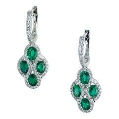 1.23 Carat Fine Emerald and Diamond Earrings in 18 Karat White Gold