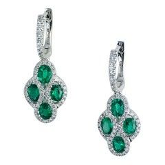1.23 Carat Fine Emerald and Diamond Earrings in 18 Karat White Gold