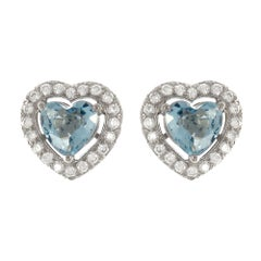 1.23 Carat Heart Shape Aquamarine, Diamond 18 Karat white gold Stud Earrings