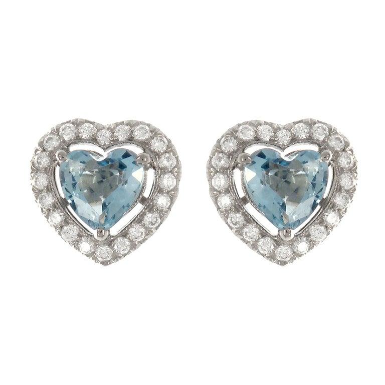 1 23 Carat Heart Shape Aquamarine Diamond 18 Karat White Gold Stud Earrings