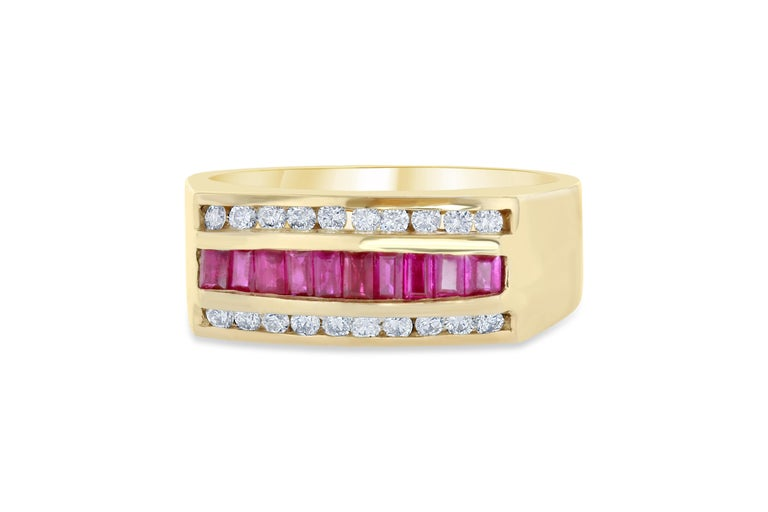 We also carry a Mens' Collection!  This unique Mens' Ring is set with 10 Baguette Cut Rubies weighing 0.86 carats and is surrounded by 20 Round Cut Diamonds that weigh 0.37 carats. The Total Carat Weight of this ring is 1.23 Carats. It is crafted in