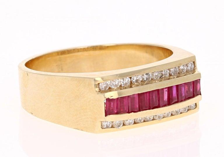 Modern 1.23 Carat Men's Ruby Diamond 14 Karat Yellow Gold Ring