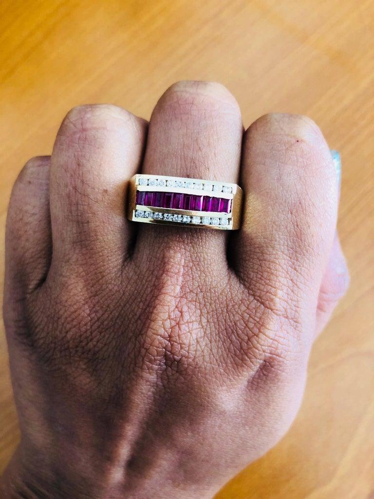 1.23 Carat Men's Ruby Diamond 14 Karat Yellow Gold Ring 1