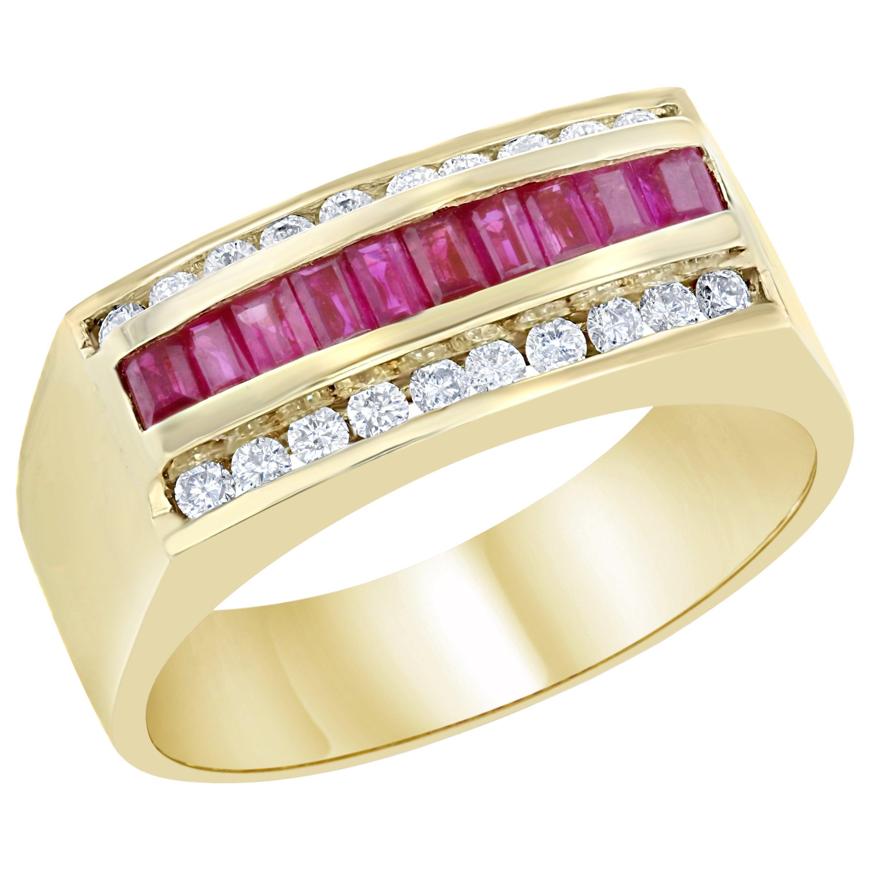 1.23 Carat Men's Ruby Diamond 14 Karat Yellow Gold Ring