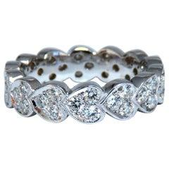 1.23 Carat Natural Diamonds Eternity Band Pave Bead Set F/VS 14 Karat
