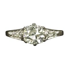 1.23 Carat Old Mine Cut Diamond Platinum Vintage Ring
