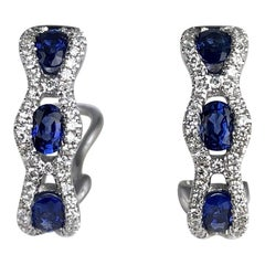 1.23 Carat Oval Cut Vivid Blue Sapphire and Diamond Earrings