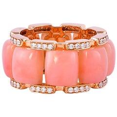 12.3 Carat Pink Opal and White Diamond Ring in 18 Karat Rose Gold