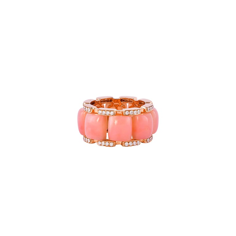 Cabochon 12.3 Carat Pink Opal and White Diamond Ring in 18 Karat Rose Gold For Sale