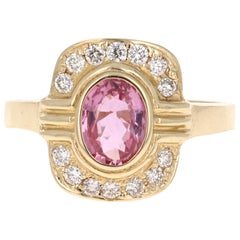 1.23 Carat Pink Sapphire Diamond 14 Karat Yellow Gold Ring