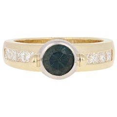 1.23 Carat Round Cut Tourmaline and Diamond Ring, 14 Karat Yellow Gold