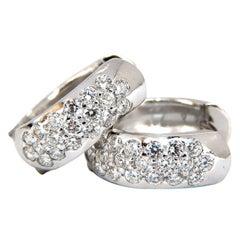 1.23 Carat Round Natural Diamond Huggie Earrings 14 Karat Bead Set
