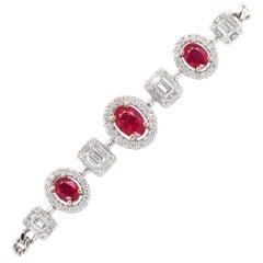 1.23 Carat Ruby 18 Karat White Gold Tennis Bracelet