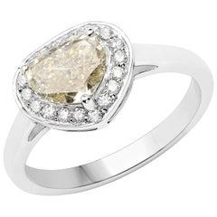 1.23 Carat Yellow Diamond and Diamond 18 Karat White Gold Cocktail Ring