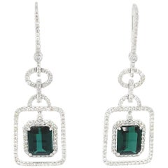 12.30 Carat GRS Certified Green Tourmaline and White Diamond Gold Earrings