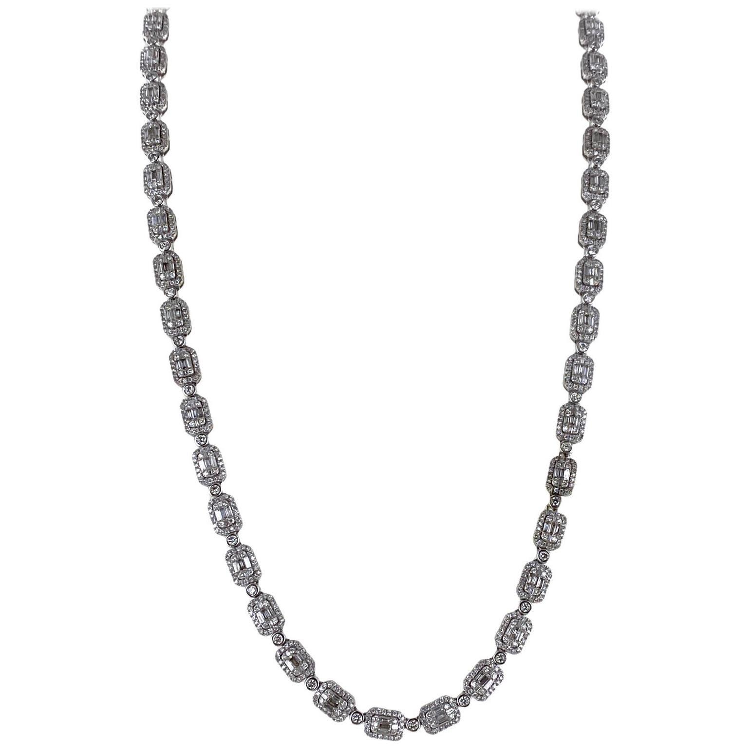 12.30 Carat Round Brilliant Baguette Cut Diamond Link White Gold Necklace