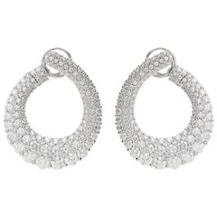 12.31 Carat White GVS Diamonds 18 Karat White Gold Drop Earrings