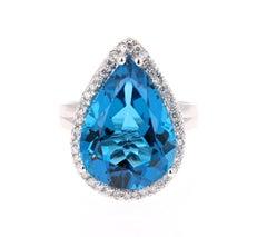 12.32 Carat Pear Cut Blue Topaz Diamond White Gold Cocktail Ring
