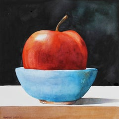 Red Apple with Blue Bowl