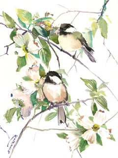 Song of the Spring, Chickadees and Dogwood Flowers Suren Nersisyan Watercolor pa