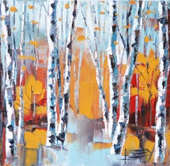 Elegant Birch, Oil Painting