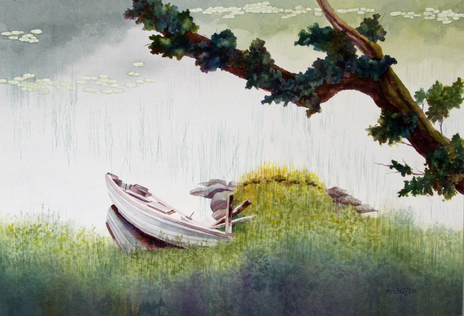 The Branch and the Listing Rowboat, Original Painting