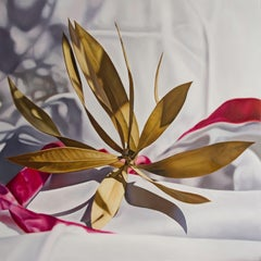 Nerium oleander with pink ribbon, Painting, Oil on Wood Panel