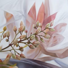 Nandina with plastic and tray, Painting, Oil on Wood Panel