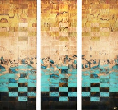 Living, breathing landscapes (Triptych), Mixed Media on Wood Panel