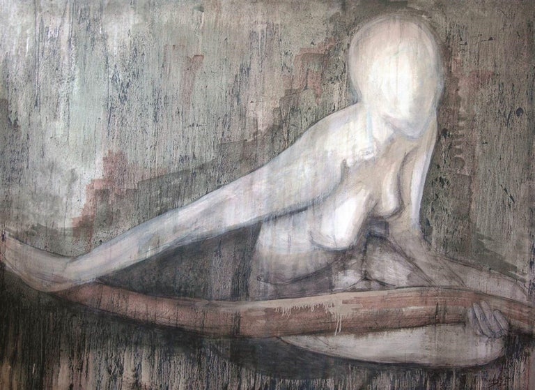Nude Forest, Painting, Watercolor on Canvas - Art by Tiziana Fejzullaj