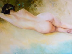 Nude at the Beach, Painting, Oil on Canvas