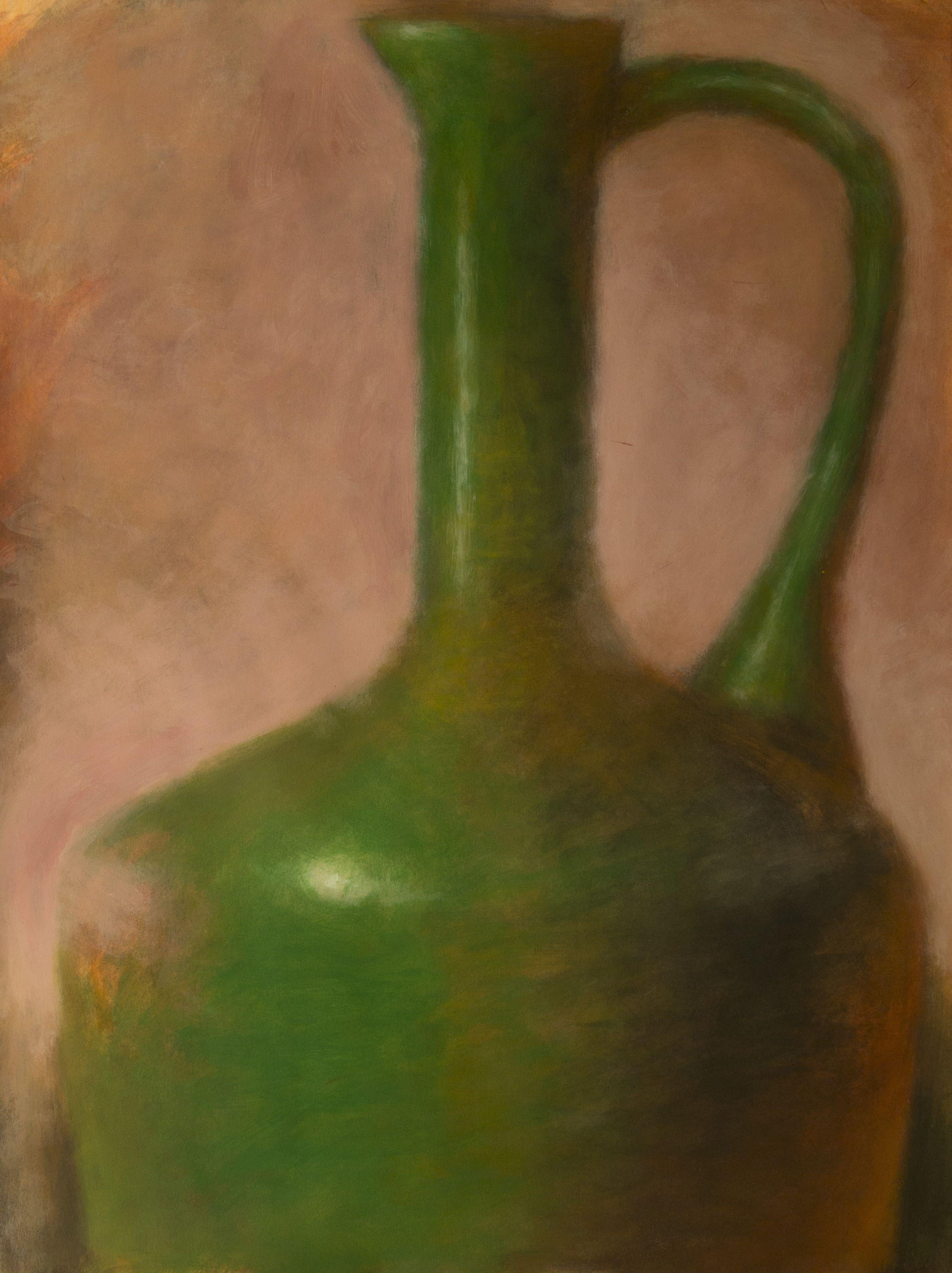 Green Amphora on Pink, Mixed Media on Watercolor Paper
