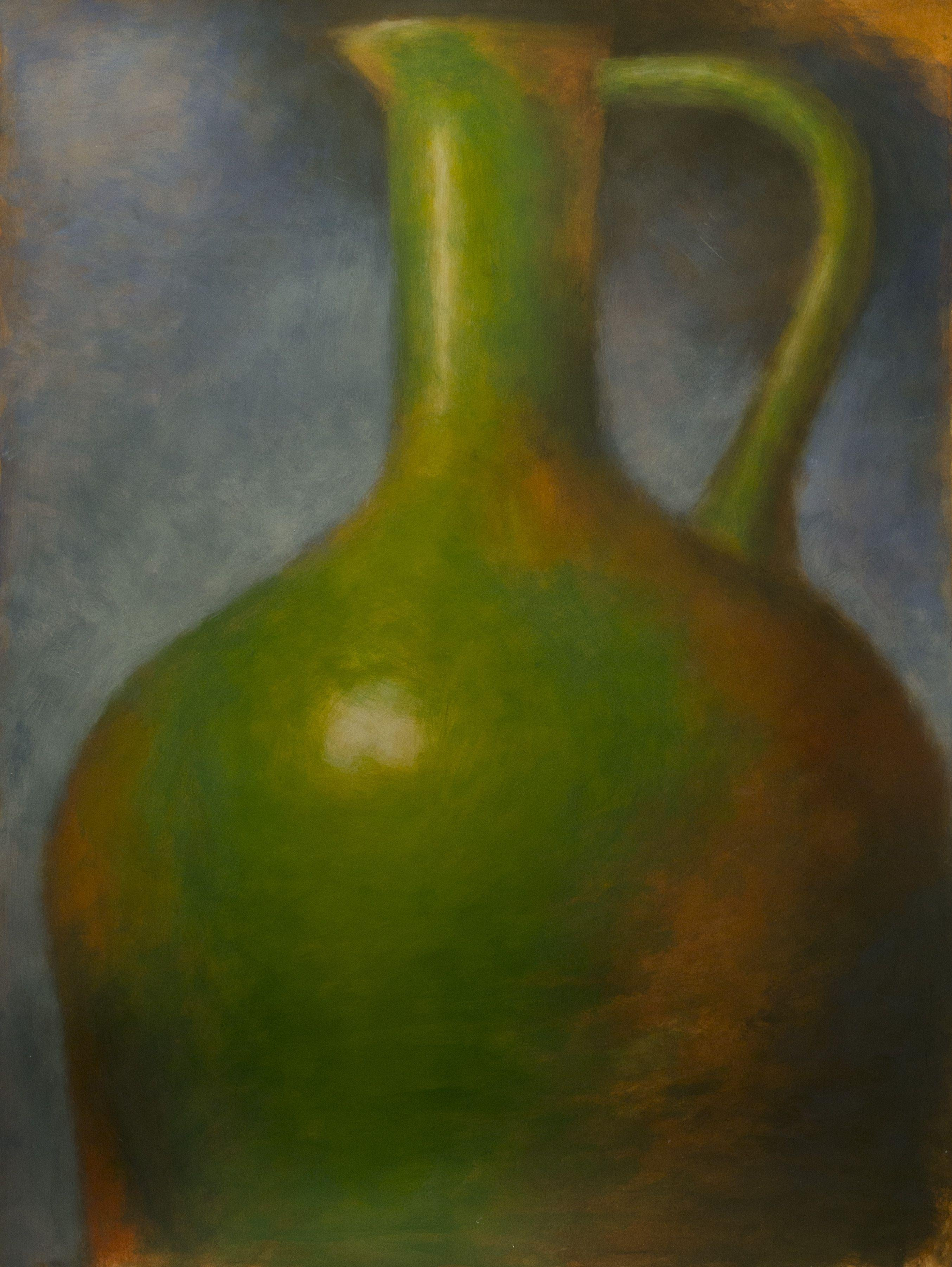 Green Amphora on Blue, Mixed Media on Watercolor Paper