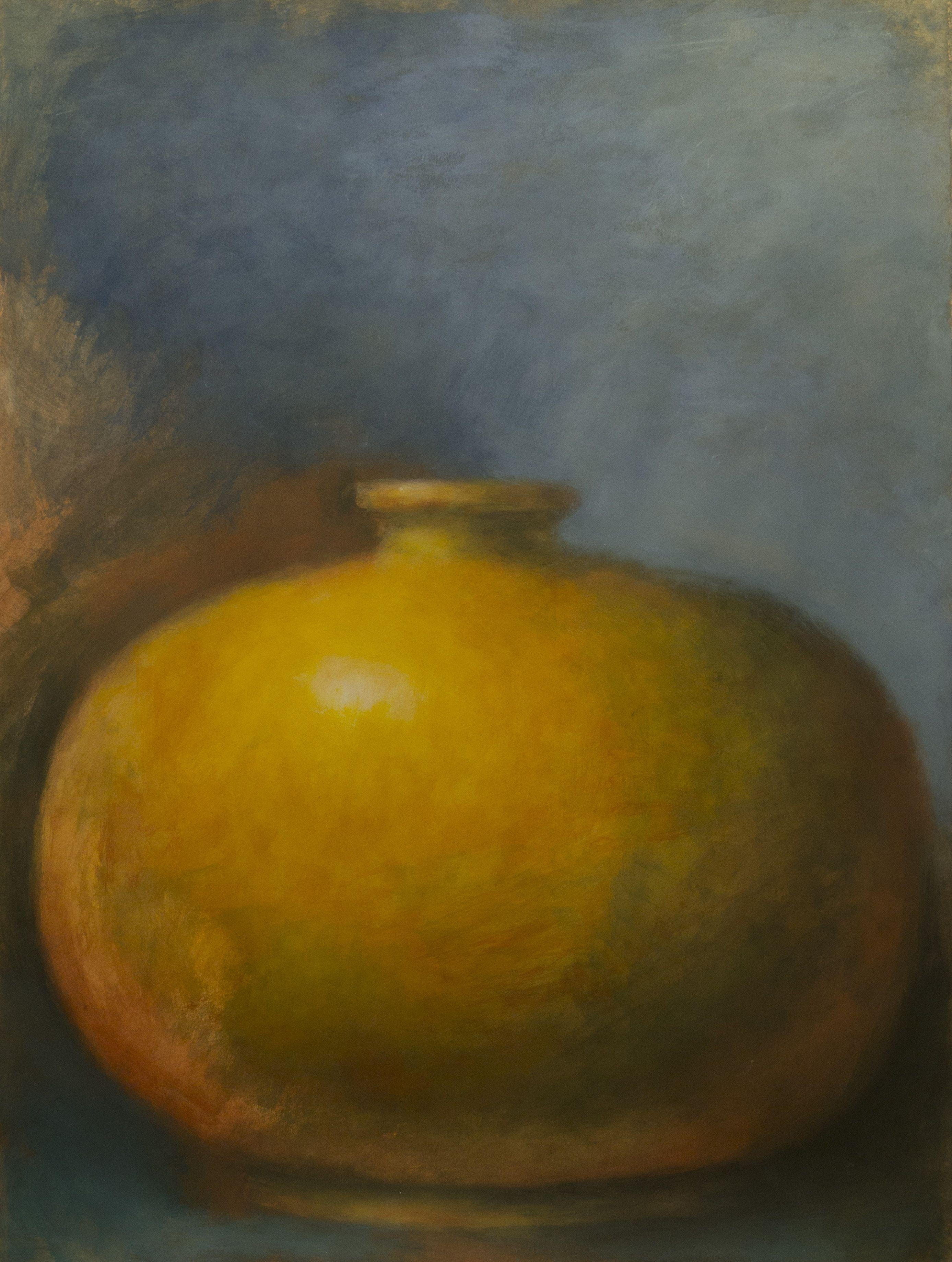 Yellow Amphora on Blue, Mixed Media on Paper