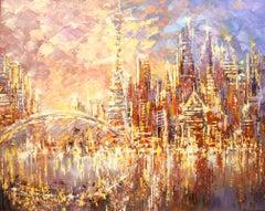 Toronto Sunset, Painting, Acrylic on Canvas