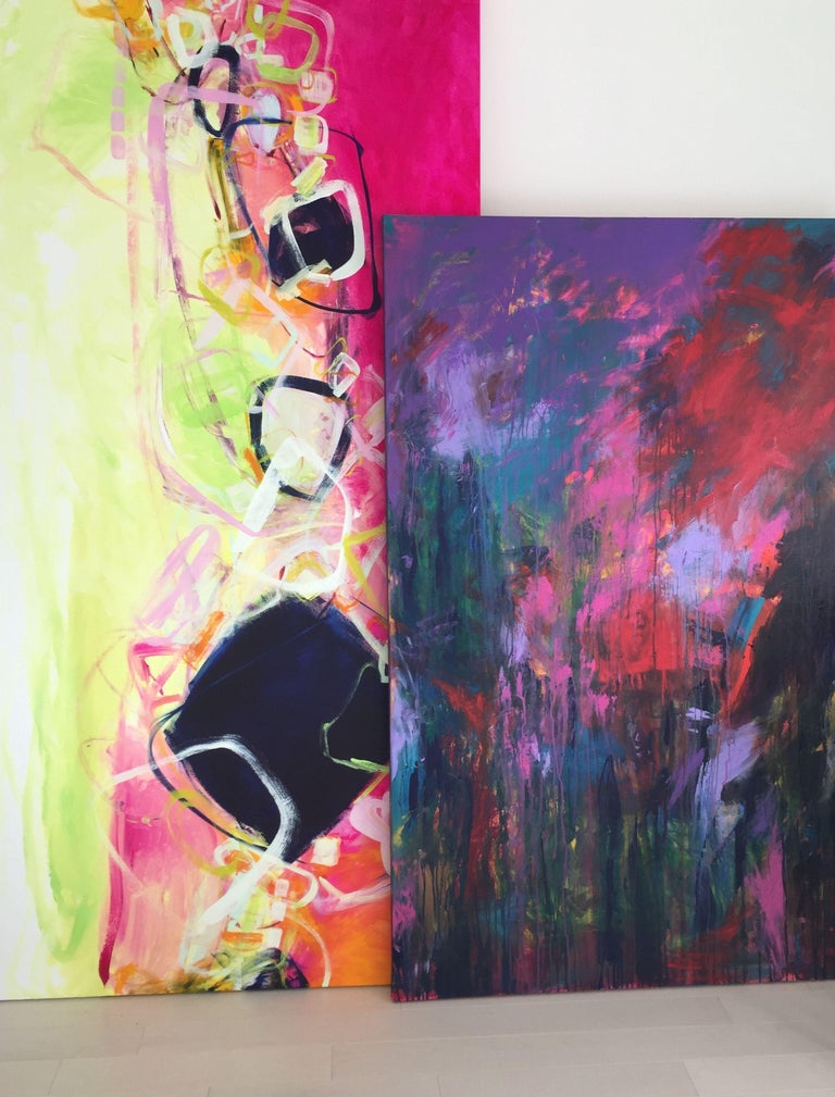 Noticed from across the room in bold layers of acrylic paint on a large gallery canvas. Deliciously mixed hues ranging from dark to tints in some areas. A statement. Painted with great emotion and swift brush strokes with dripping, lines and swirls.