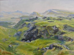 View from the Quiraing, Painting, Oil on Wood Panel