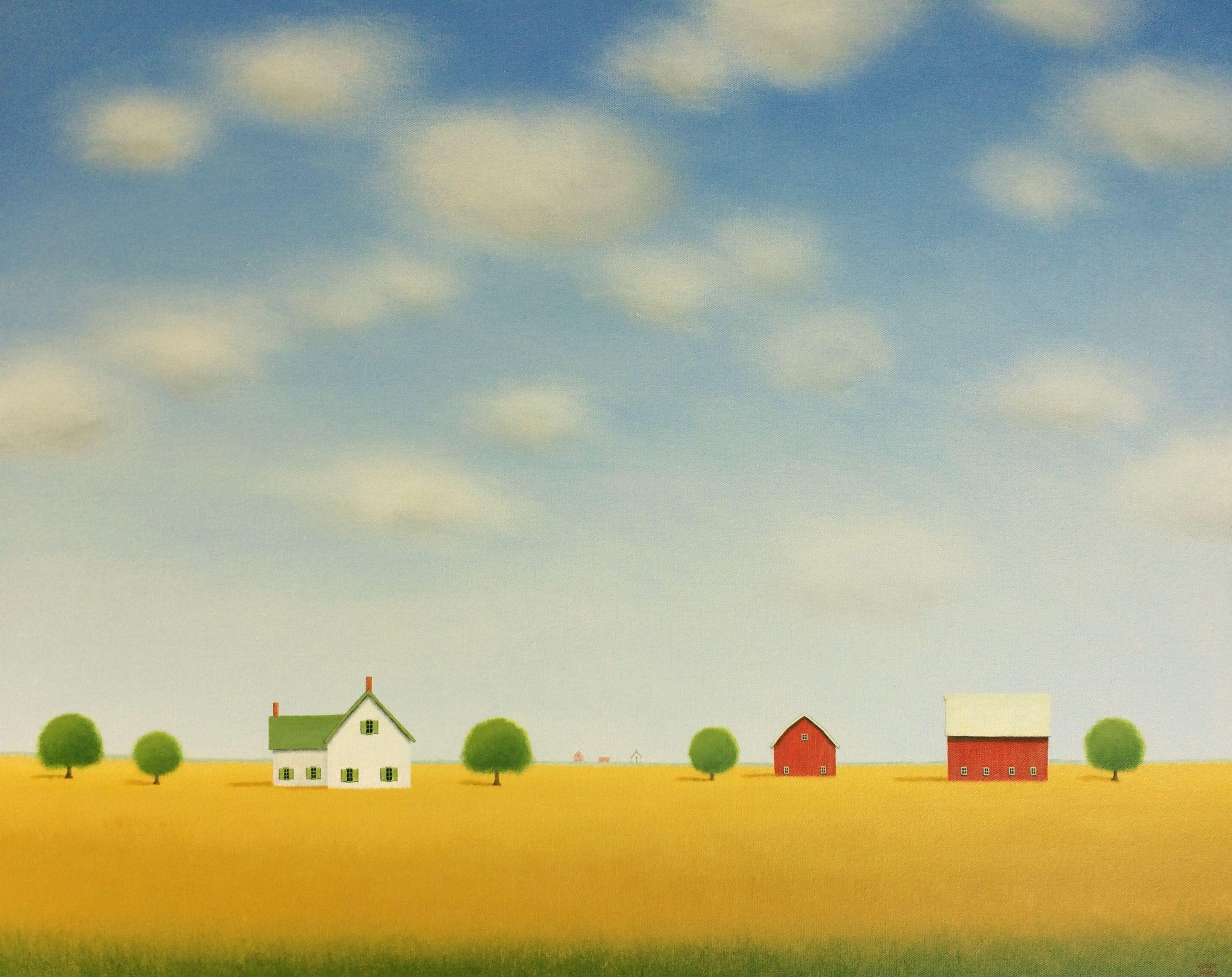 Farmhouse on the Prairie, Painting, Acrylic on Canvas