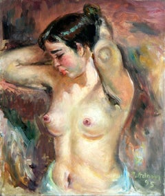 Half-nude Madzia - 20th Century, Oil Paint, Figurative Painting