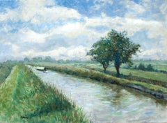 A morning walk by the canal edge., Painting, Oil on Canvas