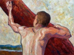 Seeking to rise into the light, man climbing tree, Painting, Oil on Canvas