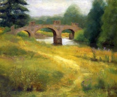 Dam Head Bridge Yorkshire Sculpture Park Landscape, Painting, Oil on Canvas