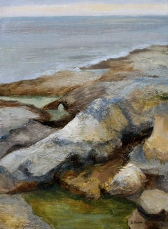 Coastal rocks and ocean, Charente Maritime France, Painting, Oil on Canvas
