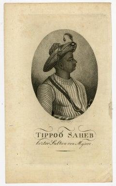 "Tipu Sahib ""the tiger of Mysore"" by Conrad Westermayr - Engraving - 19th Century"