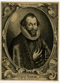 Sebastian Schedel - physician by Lucas Kilian - Engraving - 17th Century