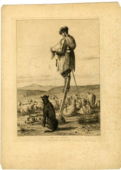 A shepherd knitting in Les Landes. by Armand Queyroy - Etching - 19th Century