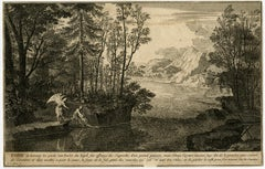 Tobias catching fish with angel by Sebastien Leclerc - Engraving - 17th Century