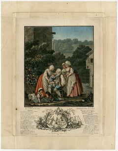 Annette and Lubin in their old age by Louis Lecoeur - Mezzotint - 18th Century