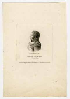 Charles Ferdinand d'Artois - Berry by Cecile Marchand - Engraving - 19th Century