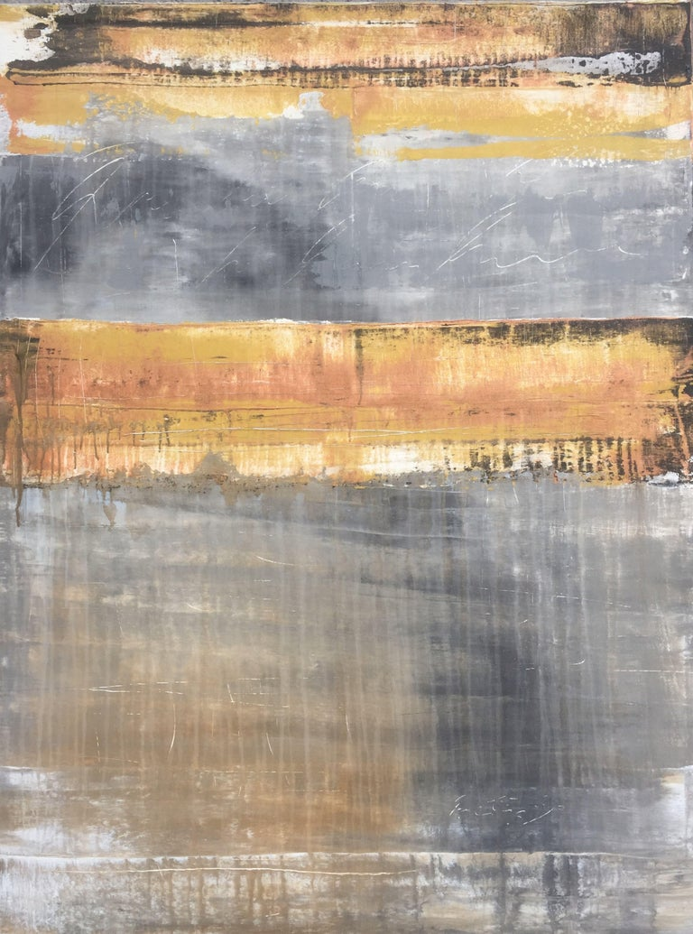 """Roger König Abstract Painting - """"1141 abstract gold/grey"""", Painting, Acrylic on Canvas"""